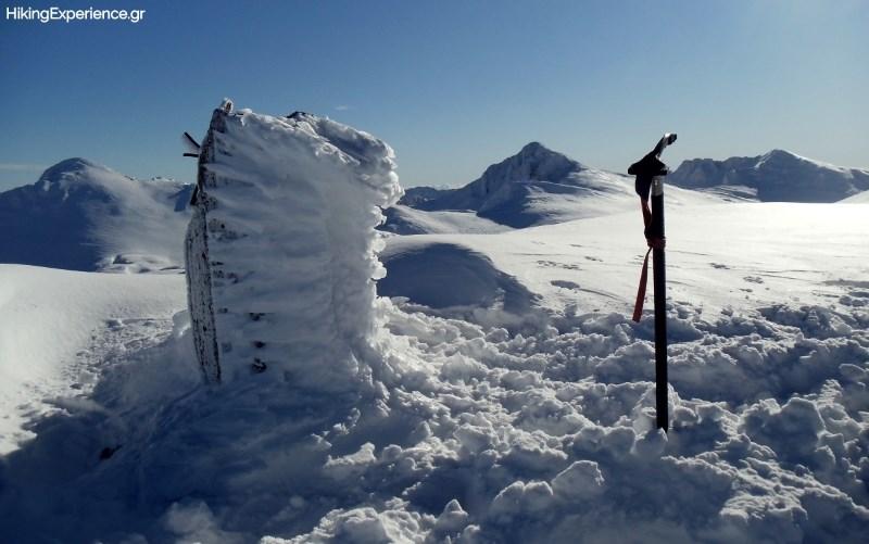 Το κολωνάκι της κορυφής του Γεροντόβραχου (2390μ). Στο φόντο η Λιάκουρα, το Κοτρώνι και ο Τσάρκος (από αριστερά προς το δεξιά)