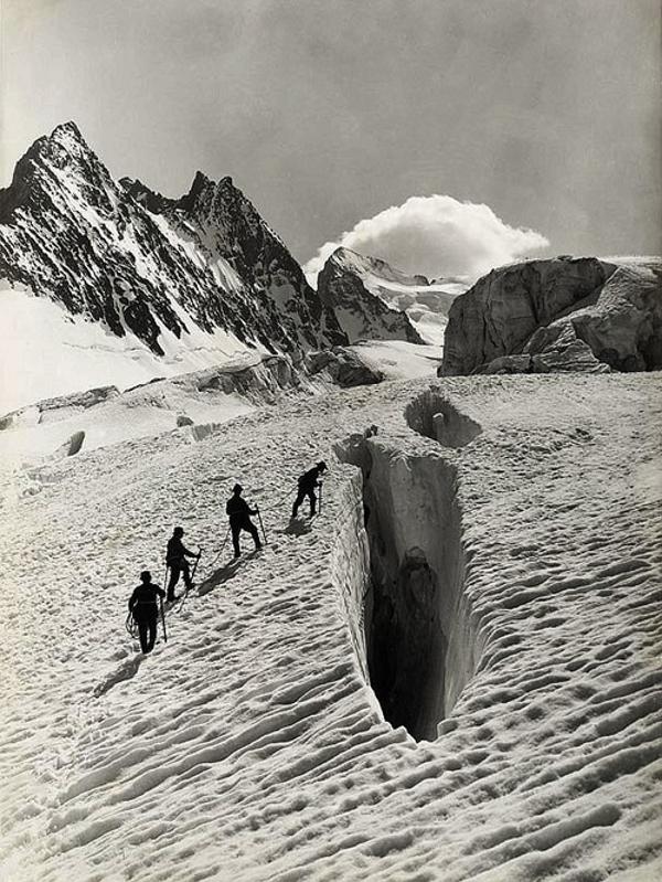Crevasse on Glacier Blanc, Grand Sagne and Ecrins, Alps , August 13, 1888