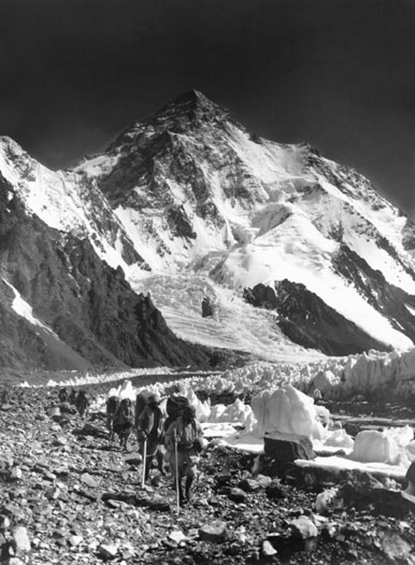 K2 with Balti Porters on the Godwin Austen Glacier, Karakoram, 1909