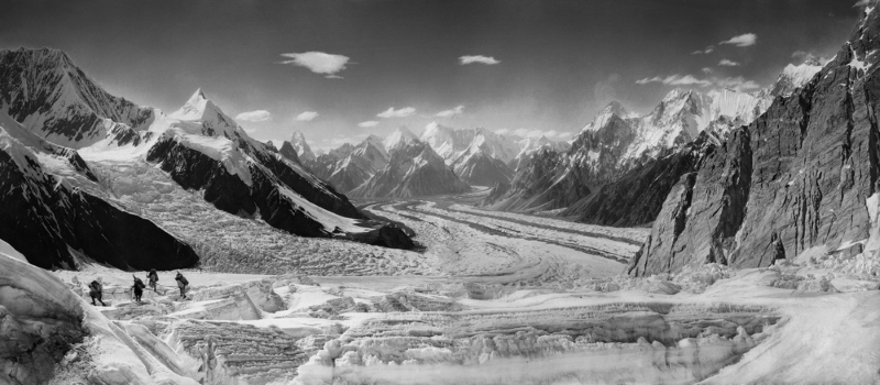 Panorama of Baltoro Glacier with Mitre Peak, Mustagh Tower and K2 in the background, 1909