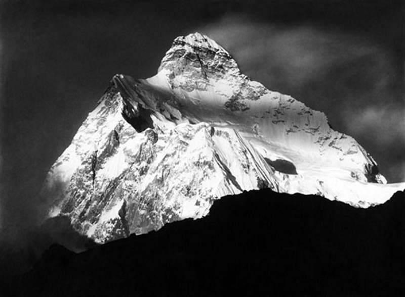 Telephoto of the summit of Jannu at sunset, Nepal, 1899