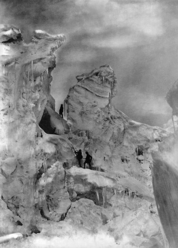 The Duke of Abruzzi and guides climbing through the Chogolisa Icefall, 1909