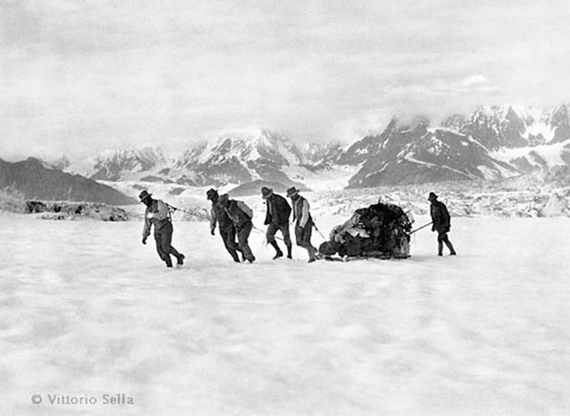 Traversing the Hitchcock Glacier on the return from Mount Saint Elias, Alaska, 1897