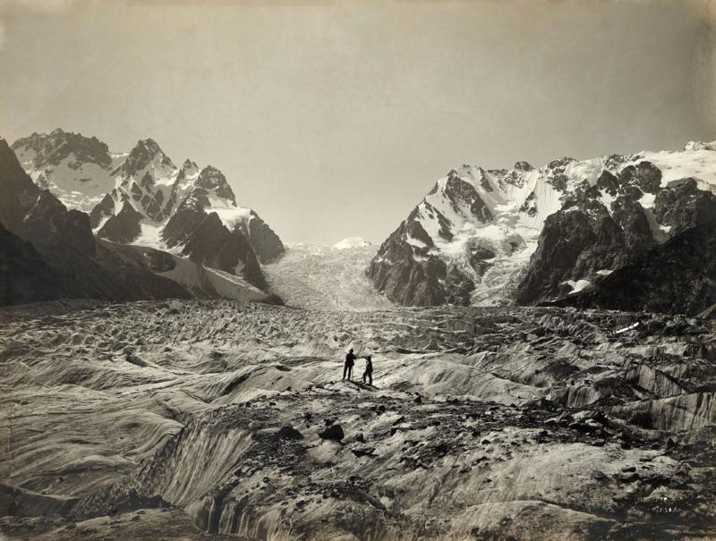 Two men on the Karagom Glacier, Caucasus, 1890
